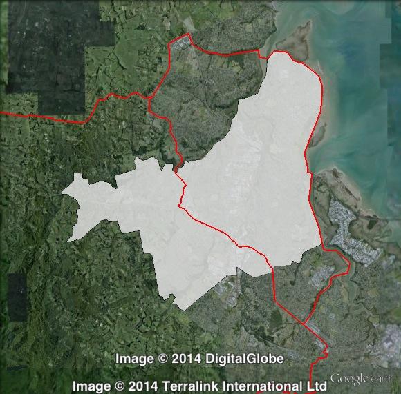 Map of Te Atatū's 2011 and 2014 boundaries. 2011 boundaries marked as red lines, 2014 boundaries marked as white area. Click to enlarge.