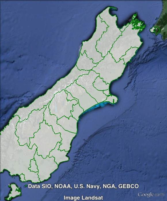 Map of Te Tai Tonga, showing local government boundaries in green. Click to enlarge.