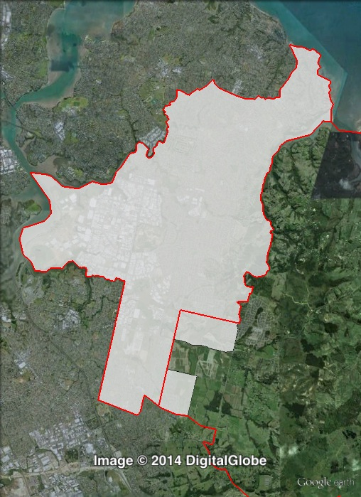 Map of Botany's 2011 and 2014 boundaries. 2011 boundaries marked as red lines, 2014 boundaries marked as white area. Click to enlarge.