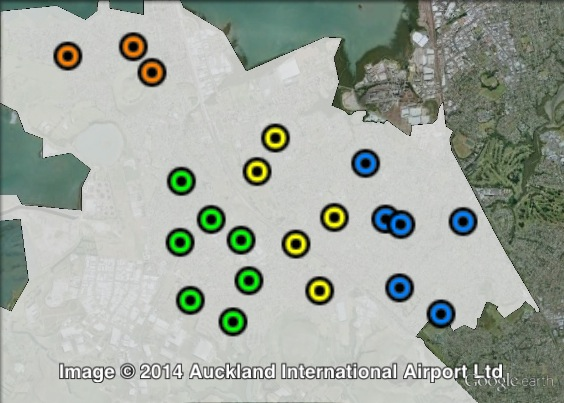 Polling places in Māngere at the 2011 general election. Central in yellow, East in blue, North in orange, West in green. Click to enlarge.