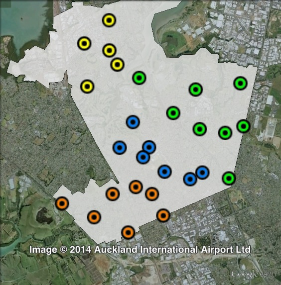 Polling places in Manukau East at the 2011 general election. Otahuhu in yellow, Otara in green, Papatoetoe North in blue, Papatoetoe South in orange. Click to enlarge.