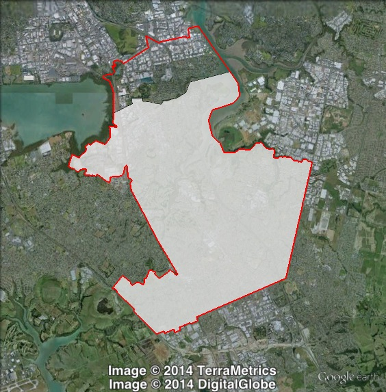Map of Manukau East's 2011 and 2014 boundaries. 2011 boundaries marked as red lines, 2014 boundaries marked as white area. Click to enlarge.