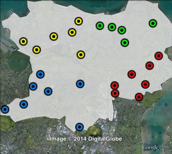 Polling places in Tāmaki at the 2011 general election. North-East in green, North-West in yellow, South-East in red, South-West in blue. Click to enlarge.