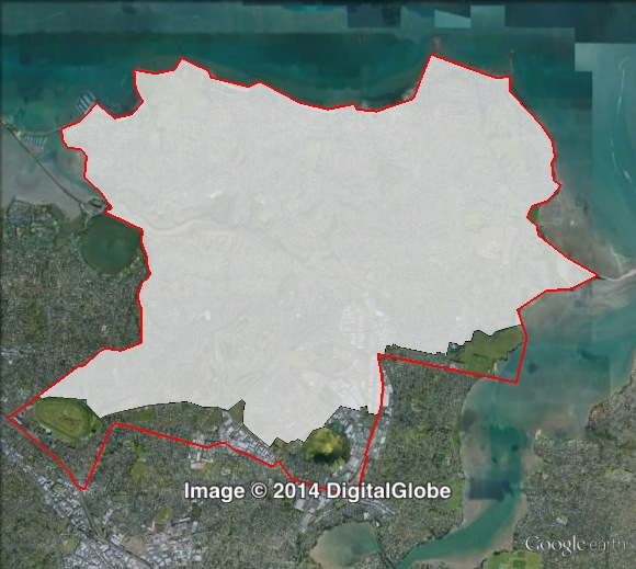 Map of Tāmaki's 2011 and 2014 boundaries. 2011 boundaries marked as red lines, 2014 boundaries marked as white area. Click to enlarge.