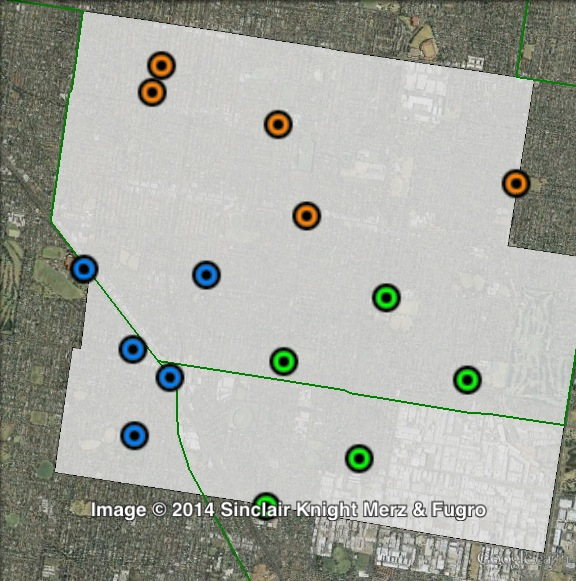 Polling places in Bentleigh at the 2010 Victorian state election. North in orange, South-East in green, South-West in blue. Click to enlarge.