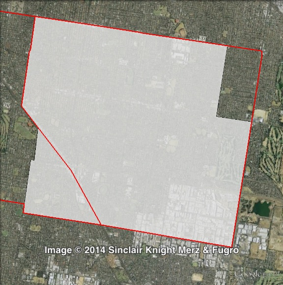 Map of Bentleigh's 2010 and 2014 boundaries. 2010 boundaries marked as red lines, 2014 boundaries marked as white area. Click to enlarge.