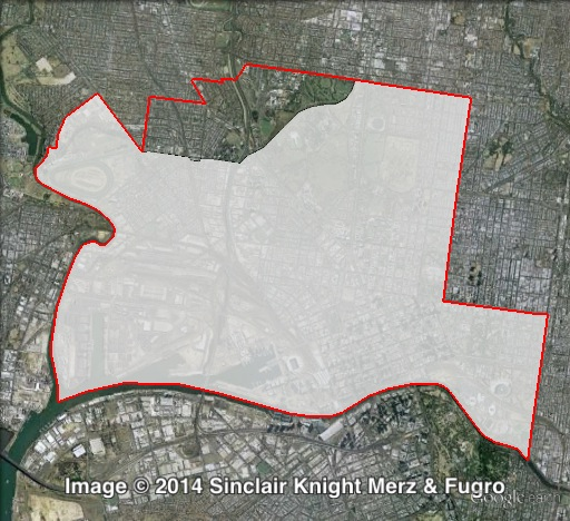 Map of Melbourne's 2010 and 2014 boundaries. 2010 boundaries marked as red lines, 2014 boundaries marked as white area. Click to enlarge.