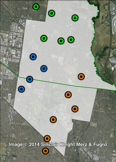 Polling places in Mulgrave at the 2010 Victorian state election. North in green, South-East in orange, South-West in blue. Click to enlarge.