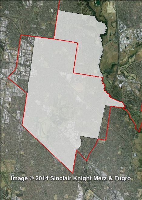 Map of Mulgrave's 2010 and 2014 boundaries. 2010 boundaries marked as red lines, 2014 boundaries marked as white area. Click to enlarge.