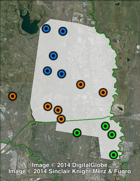 Polling places in Broadmeadows at the 2010 Victorian state election. Central in orange, North in blue, South in green. Click to enlarge.