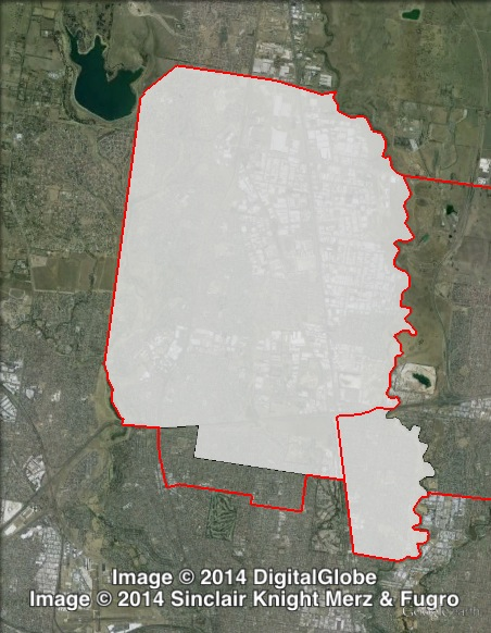 Map of Broadmeadows' 2010 and 2014 boundaries. 2010 boundaries marked as red lines, 2014 boundaries marked as white area. Click to enlarge.
