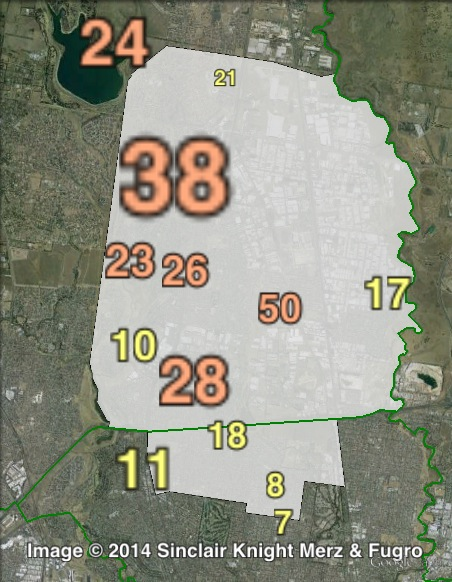 Primary votes for independent candidate Celel Sahin at the 2011 Broadmeadows by-election.