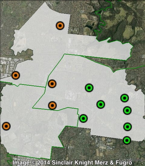 Polling places in Bundoora at the 2010 Victorian state election. East in green, West in orange. Click to enlarge.