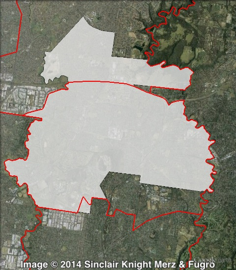 Map of Bundoora's 2010 and 2014 boundaries. 2010 boundaries marked as red lines, 2014 boundaries marked as white area. Click to enlarge.