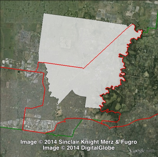 Map of Mill Park's 2010 and 2014 boundaries. 2010 boundaries marked as red lines, 2014 boundaries marked as white area. Click to enlarge.