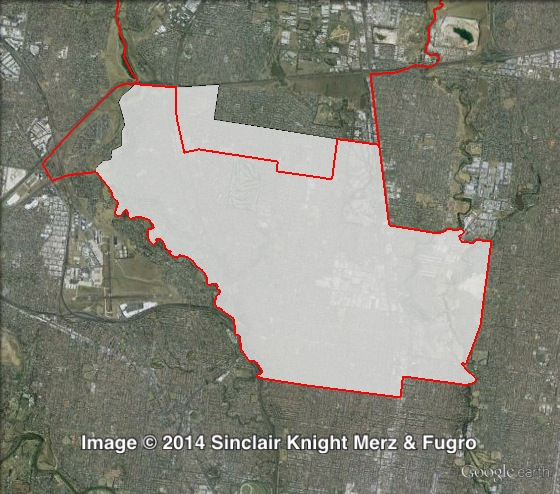 Map of Pascoe Vale's 2010 and 2014 boundaries. 2010 boundaries marked as red lines, 2014 boundaries marked as white area. Click to enlarge.