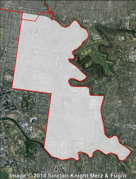 Map of Richmond's 2010 and 2014 boundaries. 2010 boundaries marked as red lines, 2014 boundaries marked as white area. Click to enlarge.