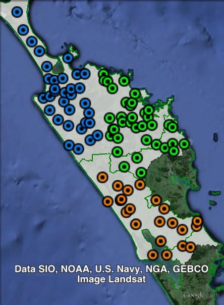 Polling places in Northland at the 2014 New Zealand general election. North-East in green, North-West in blue, South in orange. Click to enlarge.