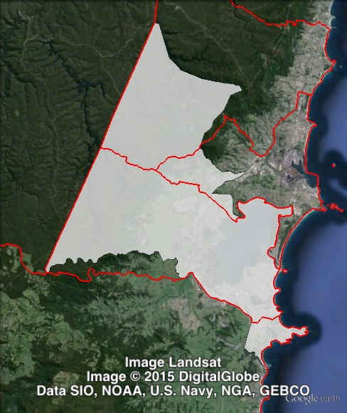 Map of Shellharbour's 2011 and 2015 boundaries. 2011 boundaries marked as red lines, 2015 boundaries marked as white area. Click to enlarge.