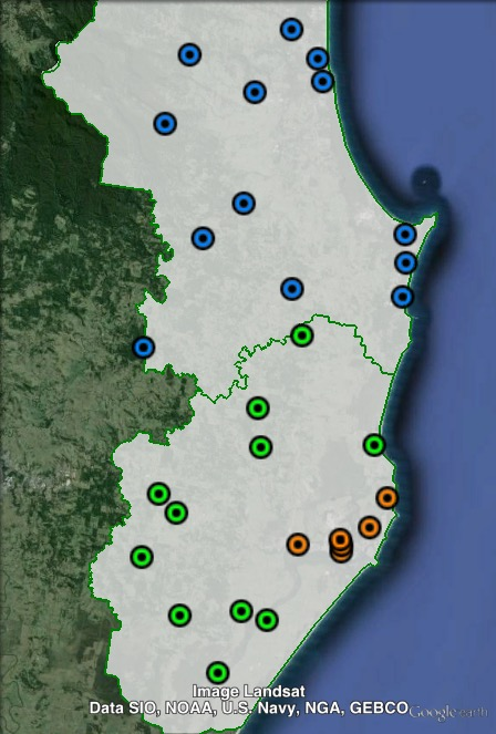 Polling places in Ballina at the 2015 NSW state election. Ballina in orange, Ballina Surrounds in green, Byron in blue. Click to enlarge.