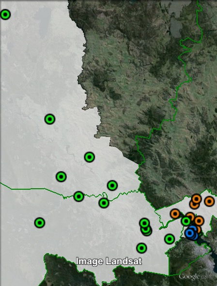 Polling places in Derwent at the 2009 Legislative Council election. Brighton in orange, Glenorchy in blue, West in green. Click to enlarge.