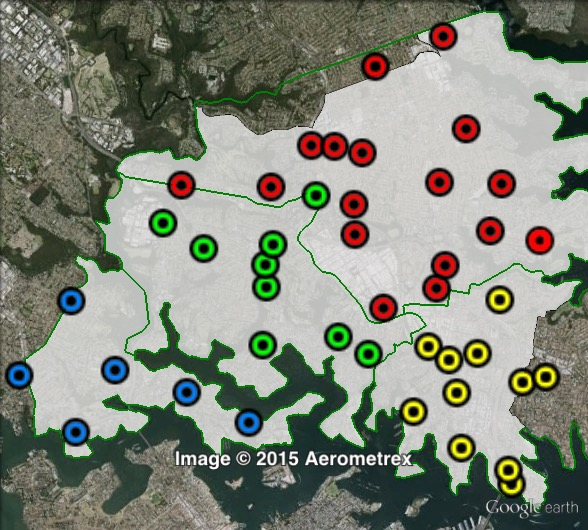 Polling places in North Sydney at the 2013 federal election. Hunters Hill in blue, Lane Cove in green, North Sydney in yellow, Willoughby in red. Click to enlarge.