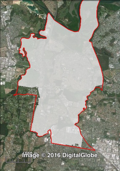 Map of Bracken Ridge's 2012 and 2016 boundaries. 2012 boundaries marked as red lines, 2016 boundaries marked as white area. Click to enlarge.