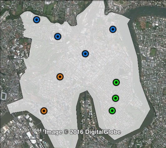 Polling places in Central at the 2012 Brisbane City Council election. East in green, North in blue, West in orange. Click to enlarge.