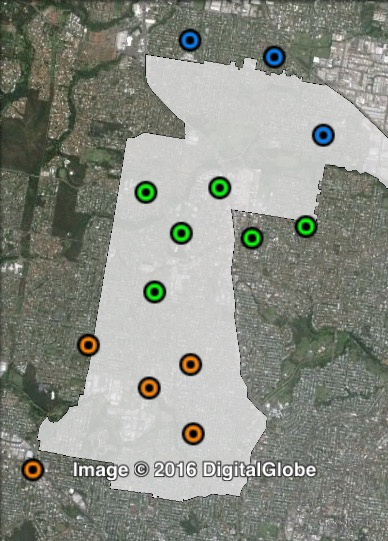 Polling places in Marchant at the 2012 Brisbane City Council election. Central in green, North in blue, South in orange. Click to enlarge.