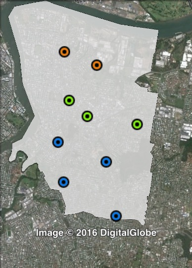 Polling places in Morningside at the 2012 Brisbane City Council election. Central in green, North in orange, South in blue. Click to enlarge.