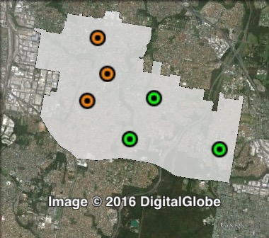 Polling places in Runcorn at the 2012 Brisbane City Council election.