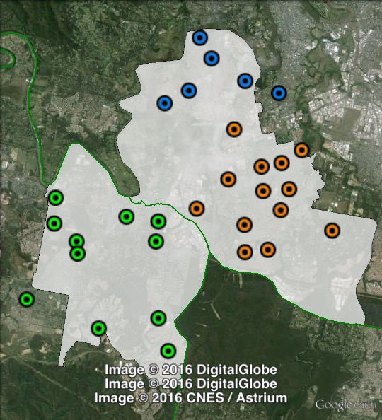 Polling places in Oxley at the 2013 federal election. North in blue, South-East in orange, South-West in green. Click to enlarge.